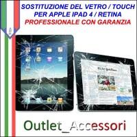 Sostituzione Riparazione Cambio Vetro Touch Rotto Apple Ipad 4 Retina
