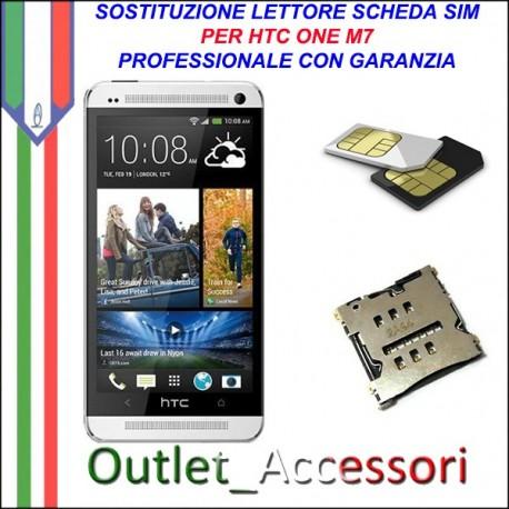 Sostituzione Riparazione Lettore Sim Pista Flat Scheda Rotto per HTC ONE M7