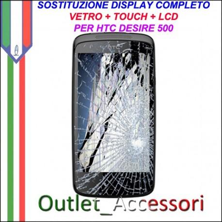 Sostituzione Riparazione Cambio Display ROTTO HTC DESIRE 500 Lcd Vetro Touch Touchscreen Schermo