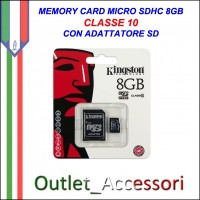 Memory Card Micro sdhc sd 8gbGB CLASSE 10 KINGSTON Originale in confezione Blister sigillata