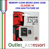 Memory Card Micro sdhc sd 32GB CLASSE 10 KINGSTON Originale in confezione Blister sigillata
