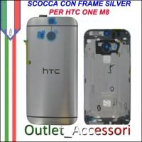 Scocca Copribatteria Telaio Cover Cornice Housing per HTC ONE m8 grigio Silver