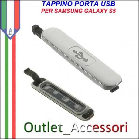 Tappo Tappino Porta Usb Carica Ricarica Samsung Galaxy S5 G900 G900F Bianco