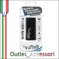 Batteria Esterna Portatile Power Bank Vultech 2600mah con Torcia e LED Carica Nera PB-2600N