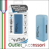 Batteria Esterna Portatile Power Bank Vultech 2600mah con Torcia e LED Carica BLU PB-2600N