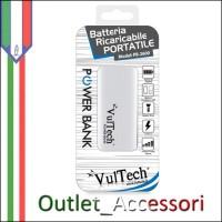 Batteria Esterna Portatile Power Bank Vultech 2600mah con Torcia e LED Carica Bianca PB-2600N