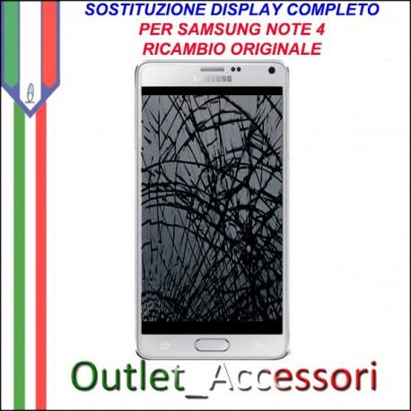 Cambio Sostituzione Display Rotto Samsung Galaxy Note 4 SM-N910F Schermo Vetro Touch Lcd Assemblaggio