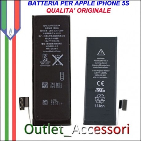 Batteria Pila Apple Iphone 5s Qualità TOP Originale APN 616-0720 0721