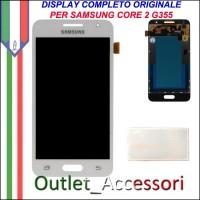 Display LCD Touch Originale Samsung Core 2 SM-G355 G355HN GH97-16070A Bianco Schermo Vetro