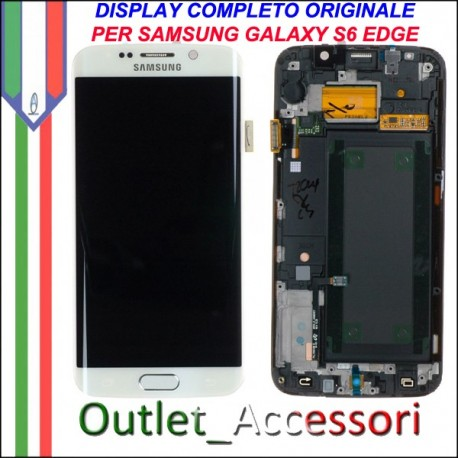 Display LCD Touch Samsung Galay S6 Edge Originale SM-G925 G925F Bianco Schermo Completo GH97-17162B