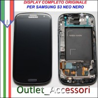 Display LCD Touch Samsung Galaxy S3 Neo NERO I9301 Originale Schermo GT Cornice Gorilla Glass