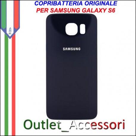 Copribatteria Back Cover Originale Samsung Galaxy S6 Edge Nero Blu G925F Vetro