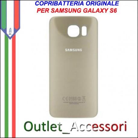 Copribatteria Back Cover Originale Samsung Galaxy S6 Edge Gold Oro G925F Vetro