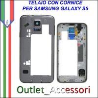 Cornice Telaio Posteriore Scocca Samsung Galaxy S5 G900F Silver Grigio