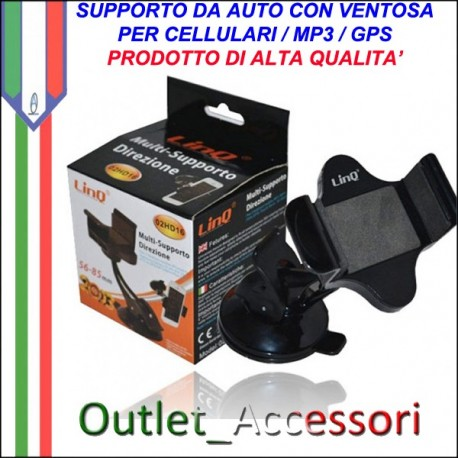 Supporto da Auto con Ventosa per Cellulari Mp3 Mp4 GPS Universale Linq