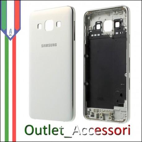 Scocca Copribatteria Cornice Samsung Galaxy A3 A300 Bianca Silver