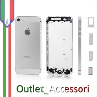 Scocca Housing Copribatteria Back Cover per Apple Iphone 5 Silver Grigia BIANCO con Tasti