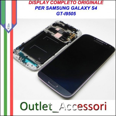 Display Schermo Originale Assemblato Cornice Flat per Samsung Galaxy S4 Nero Black I9505 Gorilla Glass