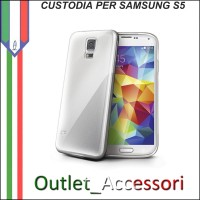 Cover Custodia per Samsung Galaxy S5 G900F in Gomma TPU Chiara Trasparente CELLY