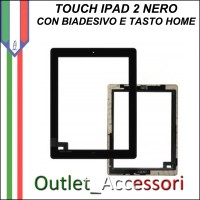 Touch Touchscreen Vetro con Biadesivo Tasto Home Ricambio Originale per Apple Ipad2 2 Nero Black 3g wifi