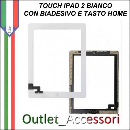 Touch Touchscreen Vetro con Biadesivo Tasto Home Ricambio Originale per Apple Ipad2 2 Nero Black 3g wifi
