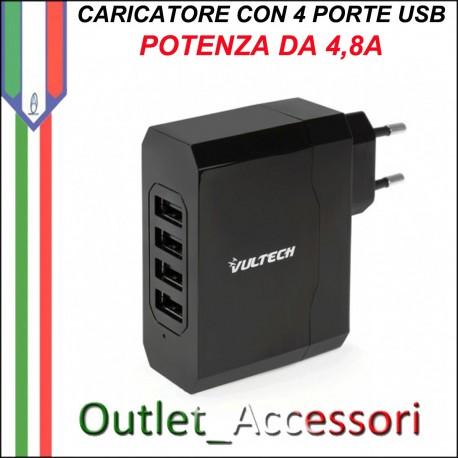 Presa a Muro Caricatore Alimentatore Caricabatterie CON 4 PORTE USB 4,8A per Smartphone Tablet