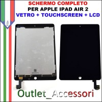 Schermo Display Touch Screen Vetro LCD Apple Ipad Air 2 A1566 A1567 NERO OEM