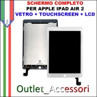 Schermo Display Touch Screen Vetro LCD Apple Ipad Air 2 A1566 A1567 BIANCO OEM
