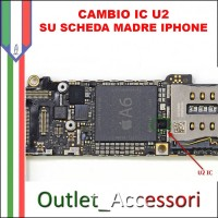 Cambio Sostituzione Chip IC Carica Apple Iphone 6 U2 1610A2 Tristar intervento su scheda madre