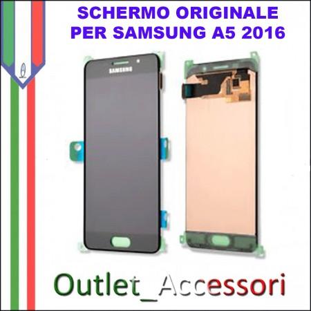 Display Schermo Originale Assemblato Cornice Flat per Samsung A5 A510F NERO