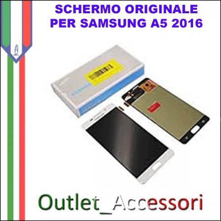 Display Schermo Originale Assemblato Cornice Flat per Samsung A510F BIANCO