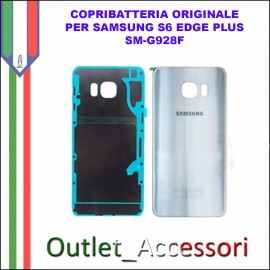 Copribatteria Back Cover Originale Samsung Galaxy S6 Edge Plus Nero Blu G928F Vetro