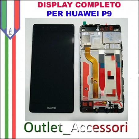 Display Schermo Huawei P9 NERO EVA-L09 LCD TOUCH Vetro Cornice