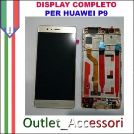 Display Schermo Huawei P9 ORO EVA-L09 LCD TOUCH Vetro Cornice