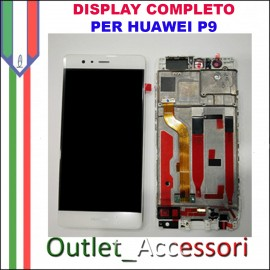 Display Schermo Huawei P9 BIANCO EVA-L09 LCD TOUCH Vetro Cornice