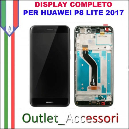 Display Schermo Huawei P8 LITE 2017 NERO LCD TOUCH Vetro Cornice PRA-LA1 PRA-LX1