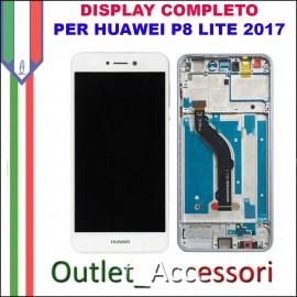 Display Schermo Huawei P8 LITE 2017 BIANCO LCD TOUCH Vetro Cornice PRA-LA1 PRA-LX1