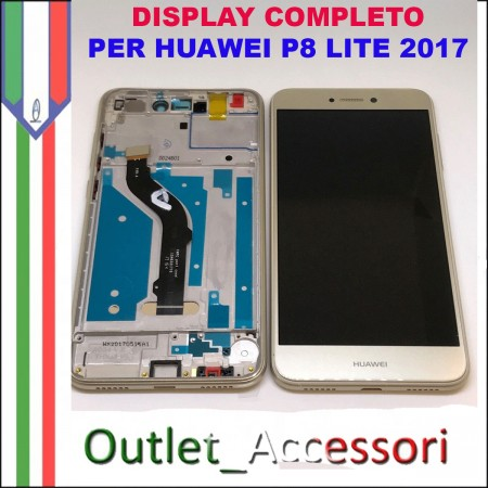 Display Schermo Huawei P8 LITE 2017 GOLD LCD TOUCH Vetro Cornice PRA-LA1 PRA-LX1