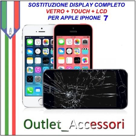 Sostituzione Display Rotto per Apple Iphone 7 Riparazione Cambio Lcd Vetro Touch Touchscreen