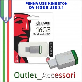 Penna USB Pendrive Kingston 16gb 3.1 3.0 DT50