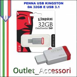 Penna USB Pendrive Kingston 32gb 3.1 3.0 DT50