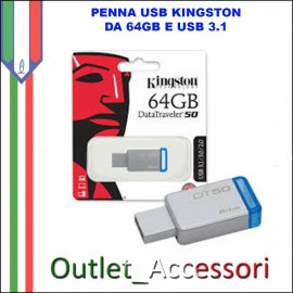 Penna USB Pendrive Kingston 64gb 3.1 3.0 DT50
