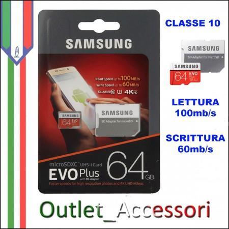 Memory Card Micro SDHC Samsung Evo Plus 64GB Classe 10 MB-MC64GA/EU Adattatore Blister Originale Memoria