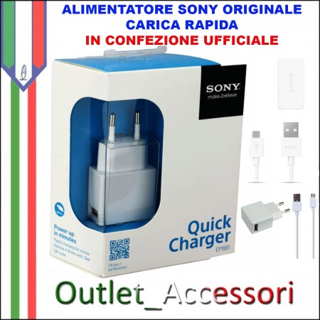 Alimentatore Caricatore Originale SONY EP881 Quick Charger Carica Veloce Bianco Blister