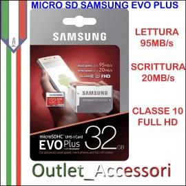 Memory Card Micro SDHC Samsung Evo Plus 64GB Classe 10 MB-MC32GA/EU FHD Adattatore Blister Originale Memoria