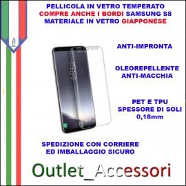 Pellicola Vetro Temperato Samsung GALAXY S8 G950 Curva Angoli Completa Pixy PET TPU