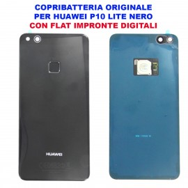 Copribatteria Originale Back Cover Huawei P10 Lite NERO Scocca Vetro WAS-L03T