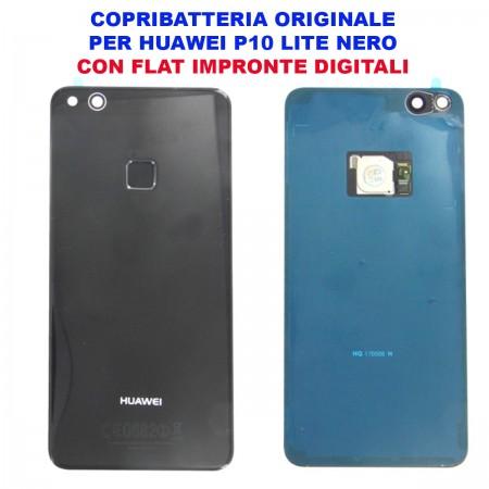 Copribatteria ORIGINALE Huawei P10 Lite NERO Scocca Vetro WAS-L03T