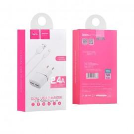 Alimentatore Caricatore Completo Presa Doppia Porta Cavo Micro USB Nero Originale Hoco