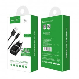 Alimentatore Caricatore Completo Presa Doppia Porta Cavo Lightning Iphone 5 5S 6 6S 7 Plus BIANCO Originale Hoco